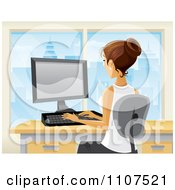 Clipart Brunette Businesswoman Working At Her Desk In A City Office 1 Royalty Free Vector Illustration by Amanda Kate #COLLC1107521-0177
