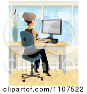 Clipart Brunette Businesswoman Working At Her Desk In A City Office 2 Royalty Free Vector Illustration by Amanda Kate