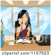 Clipart Happy Asian Businesswoman Taking Notes And Talking On A Phone In Her City Office Royalty Free Vector Illustration by Amanda Kate