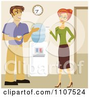 Clipart Man And Woman Flirting By A Water Cooler In An Office Royalty Free Vector Illustration