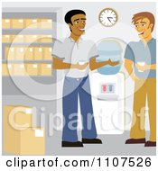 Clipart Male Warehouse Workers Talking By The Water Cooler Royalty Free Vector Illustration