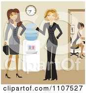 Clipart Friendly Businesswomen Talking By A Water Cooler In An Office Royalty Free Vector Illustration