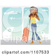 Clipart Happy Traveling Indian Woman Talking On Her Cell Phone At An Airport Royalty Free Vector Illustration
