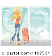 Clipart Happy Traveling Blond Woman Talking On Her Cell Phone At An Airport Royalty Free Vector Illustration by Amanda Kate