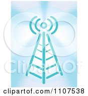 Clipart Wireless Communications Tower On Blue Halftone Royalty Free Vector Illustration