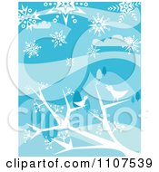 Clipart Winter Birds Chirping In Bare Tree Branches In The Snow Royalty Free Vector Illustration