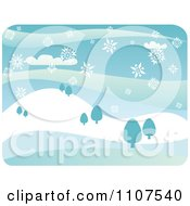 Clipart Snow Falling Over A Hilly Winter Landscape With Trees Royalty Free Vector Illustration