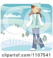 Clipart Happy Brunette Girl Ice Skating Outdoors On A Frozen Pond Royalty Free Vector Illustration