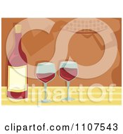 Clipart Bottle Of Red Wine And Glasses With People And Servers In The Background Royalty Free Vector Illustration by Amanda Kate