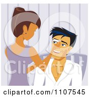 Clipart Woman Waxing A Mans Eyebrows In A Salon Royalty Free Vector Illustration by Amanda Kate