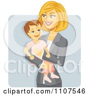 Happy Working Businesswoman Mom Holding Her Daughter Over Gray by Amanda Kate