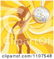Clipart Woman Dancing Over A Yellow Swirl And A Disco Ball Royalty Free Vector Illustration