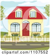 Clipart Cute Yellow Suburban House With A Red Roof And Door Royalty Free Vector Illustration by Amanda Kate