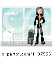 Clipart Happy Traveling Asian Businesswoman With Her Luggage In An Airport Royalty Free Vector Illustration by Amanda Kate