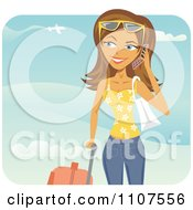 Happy Traveling Woman Talking On Her Cell Phone At An Airport