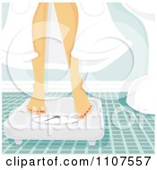 Clipart Woman In A Robe Standing On A Scale In A Bathroom Royalty Free Vector Illustration
