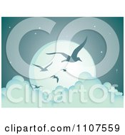 Clipart Flying Seagulls Silhouetted Against A Full Moon Above The Clouds Royalty Free Vector Illustration by Amanda Kate