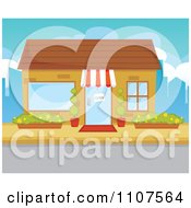 Clipart Store Front Facade With An Open Sign In The Door Royalty Free Vector Illustration