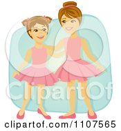 Clipart Happy Ballerina Sisters In Tutus Over Blue Royalty Free Vector Illustration