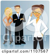 Businesswoman Talking On A Cellphone With Her Colleagues In The Background Over Blue by Amanda Kate
