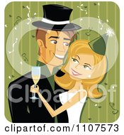 Clipart Happy Caucasian New Years Couple Embracing Over Green Royalty Free Vector Illustration