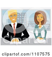 Clipart Happy Male And Female Newscasters Seated At Their Desk Royalty Free Vector Illustration