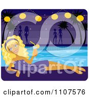 Relaxed Blond Woman Drinking A Cocktail By A Pool At Night With Others In The Background