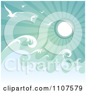 Clipart Rough Ocean Waves And Gulls Against Green Sun Rays Royalty Free Vector Illustration