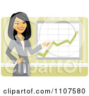 Happy Asian Businesswoman Discussing Company Growth Statistics by Amanda Kate