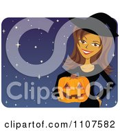 Happy Brunette Woman In A Halloween Witch Costume Holding A Pumpkin Over Stars