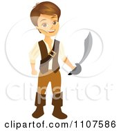 Clipart Happy Pirate Boy Holding A Sword Royalty Free Vector Illustration