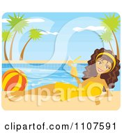 Clipart Poolside Brunette Woman With A Beach Ball And Cocktail Royalty Free Vector Illustration