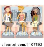 Clipart Three Girlfriends Talking And Getting Pedicures In A Salon Royalty Free Vector Illustration