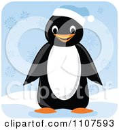 Clipart Happy Penguin Wearing A Blue Winter Cap In The Snow Royalty Free Vector Illustration
