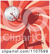 Woman Dancing Over A Red Swirl And A Disco Ball