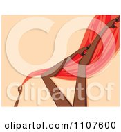 Clipart Sexy Black Womans Legs With Red Silk And Heels Over Beige Royalty Free Vector Illustration by Amanda Kate