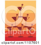 Clipart Pyramid Of Stacked Martini Glasses And Olives Over Gradient Orange And Red Royalty Free Vector Illustration by Amanda Kate