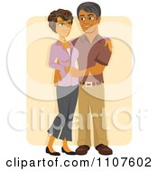 Clipart Happy Retired Hispanic Middle Aged Couple Embracing And Smiling Over Beige Royalty Free Vector Illustration