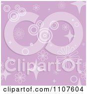 Seamless Purple Flower Circle And Star Pattern