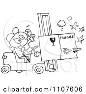 Clipart Outlined Distracted Forklift Driver Running Over A Fragile Box Royalty Free Vector Illustration