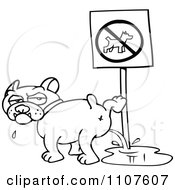 Clipart Outlined Bulldog Peeing On A No Dogs Sign Royalty Free Vector Illustration