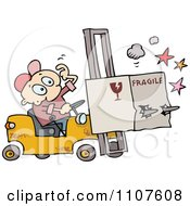 Clipart Distracted Forklift Driver Running Over A Fragile Box Royalty Free Vector Illustration