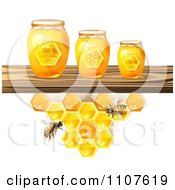 Clipart Bees And Honeycombs Under A Shelf With Jars Royalty Free Vector Illustration