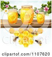 Clipart Bees And Honeycombs Under A Shelf With Jars And Blossoms Royalty Free Vector Illustration