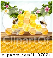 Clipart Bees And Honeycombs With Flowers 1 Royalty Free Vector Illustration