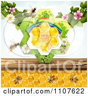 Clipart Bees And Honeycombs With Flowers And Natural Label Royalty Free Vector Illustration