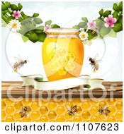 Bees And Honeycombs Under A Shelf With A Jars Blossoms And Blank Banner