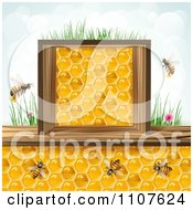 Clipart Bees And Honeycombs In A Wood Box With Grass And Sky 1 Royalty Free Vector Illustration