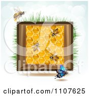 Clipart Bees And Honeycombs In A Wood Box With Grass And Sky 2 Royalty Free Vector Illustration