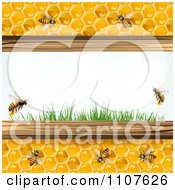 Clipart Bees And Honeycombs With Flowers 5 Royalty Free Vector Illustration